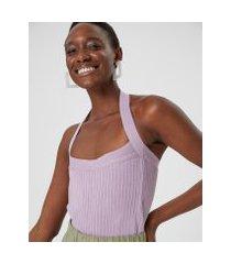 amaro feminino regata tricot decote reto, lilás