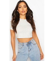 basic cap sleeve crop top, grey marl
