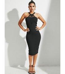halter recortado negro vestido