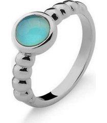 anel infantil solitário agata azul pedra natural di capri semi jóias x ouro branco incolor - kanui