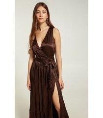 motivi vestito lungo senza maniche in raso donna marrone