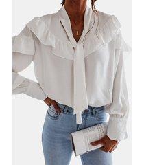 camicetta casual da donna a maniche lunghe in tinta unita con balze