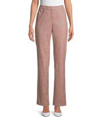 lafayette 148 new york women's barrow speckled wool-blend trousers - henna - size 8