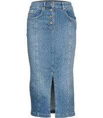 denim midi pencil skirt knälång kjol blå superdry