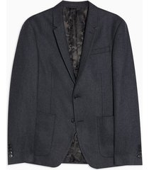 mens blue navy skinny fit single breasted herringbone warm handle suit blazer with notch lapels
