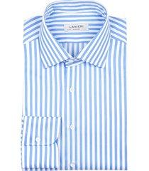 camicia da uomo su misura, grandi & rubinelli, azzurra riga medium natural stretch, quattro stagioni | lanieri