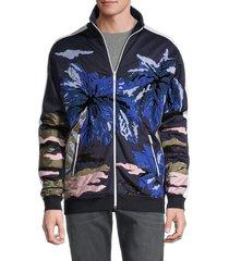 valentino garavani men's mix-print sweatshirt - navy - size s