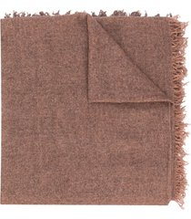 faliero sarti loose knit scarf with tassel edge - brown