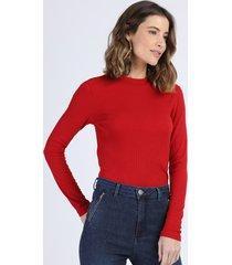 blusa feminina canelada manga longa gola alta vermelho escuro