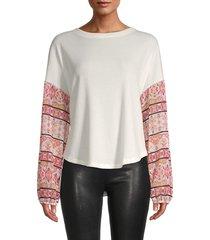 baea women's boho print-sleeve top - white - size xxxl