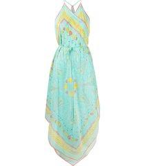 emilio pucci conchiglie-print beach dress - blue