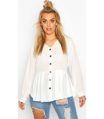 plus pleated button detail peplum shirt, ivory