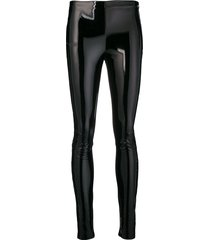 karl lagerfeld faux patent slim-fit leggings - black