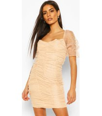 dobby mesh rouche detail mini dress, soft pink