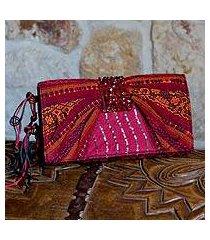 beaded rayon clutch handbag, 'atitlan scarlet' (guatemala)