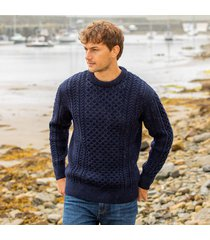 men's traditional merino wool aran sweater navy large