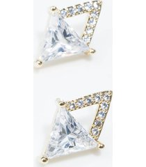 akira rhinestone pyramid mirror stud earrings