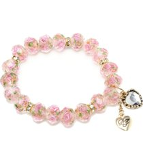 betsey johnson pink flower beaded stretch bracelet