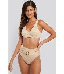 na-kd swimwear ribbed high waist buckle bikini panty - beige