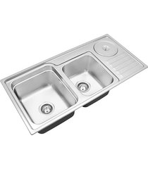 cuba para cozinha dupla com lixeira funzionale 229 acetinada 92x45x22,7cm - debacco - debacco