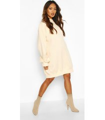 balloon sleeve open back sweatshirt dress, nude