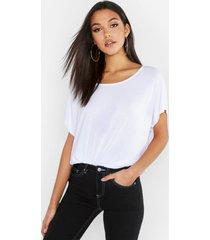 tall basis-t-shirt met diepe hals, wit