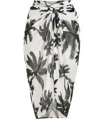 brigitte print coqueiros midi beach skirt - white
