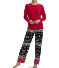 hue sueded fleece winter scene pajama set