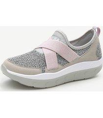 banda elastica slip on suola rocker scarpe comode in mesh