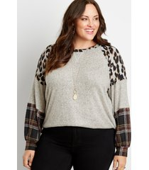 maurices plus size womens 24/7 leopard plaid colorblock blouson sleeve baseball tee beige