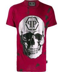 philipp plein destroyed skull t-shirt - red