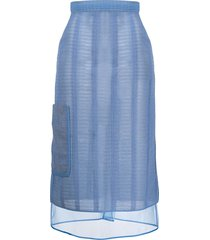 marco de vincenzo abstract pattern sheer skirt - blue