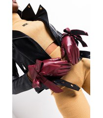 akira wintour pleather bow accent gloves