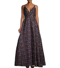 floral embroidered fit-&-flare gown