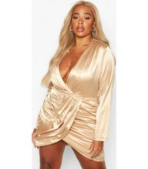 plus draped wrap satin dress, taupe