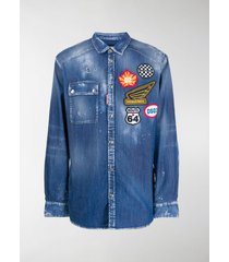 dsquared2 patch logo denim shirt