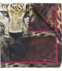 etro leopard-print scarf - black