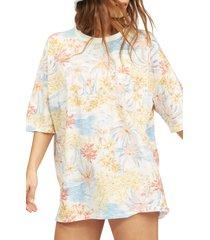 women's billabong x wrangler western shores floral t-shirt, size large - blue