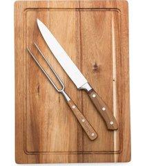 conjunto para churrasco com 3 peças em madeira kenya