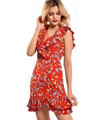 vestido primia flora rojo