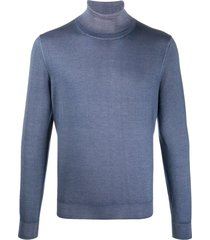 canali jersey knit high neck sweatshirt - blue