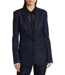 st. john women's party animal sequin knit jacket - caviar cadet blue - size 2