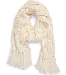 women's treasure & bond fringe cable knit scarf, size one size - white