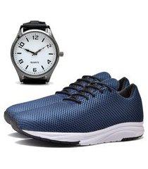 tênis sapatênis urbano com relógio clean masculino dubuy 1108db azul