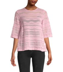 m missoni women's semi-sheer elbow-sleeve top - pink - size 40 (4)