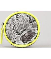 bolsinha porta moeda redonda estampada animal print cobra com textura cinza