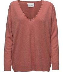 boston v-neck 6304 stickad tröja rosa samsøe samsøe