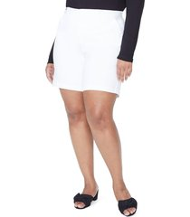 plus size women's nydj stretch twill bermuda shorts, size 24w - white