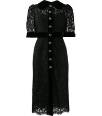 dolce & gabbana collared lace midi dress - black
