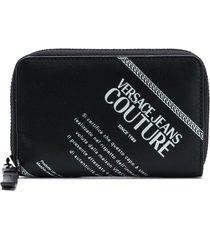 versace jeans couture logo wallet - black